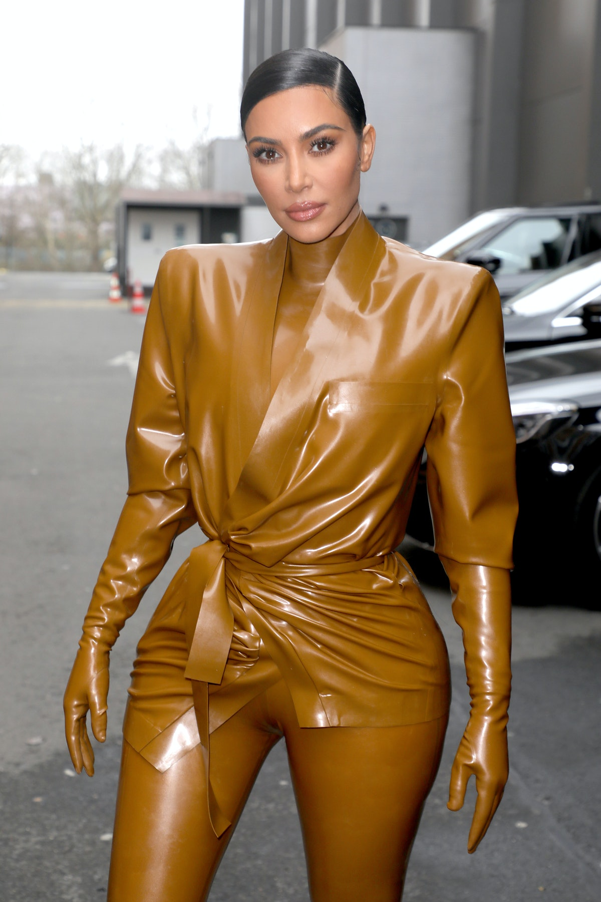 PARIS, FRANCE - MARCH 01: (EDITORIAL USE ONLY) Kim Kardashian attends the Balenciaga show as part of...