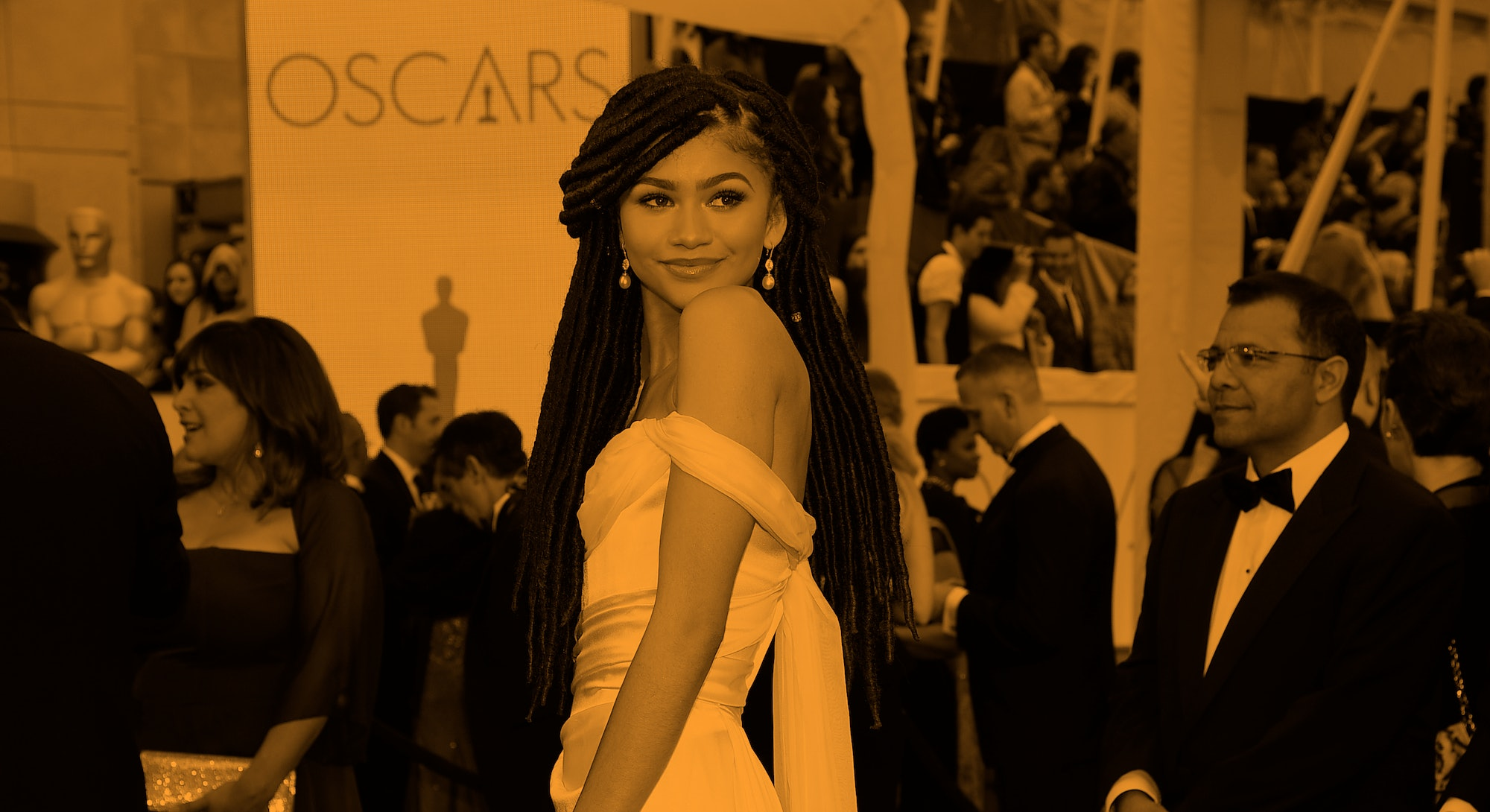Zendaya wearing a Vivienne Westwood gown to the 2015 Oscars.