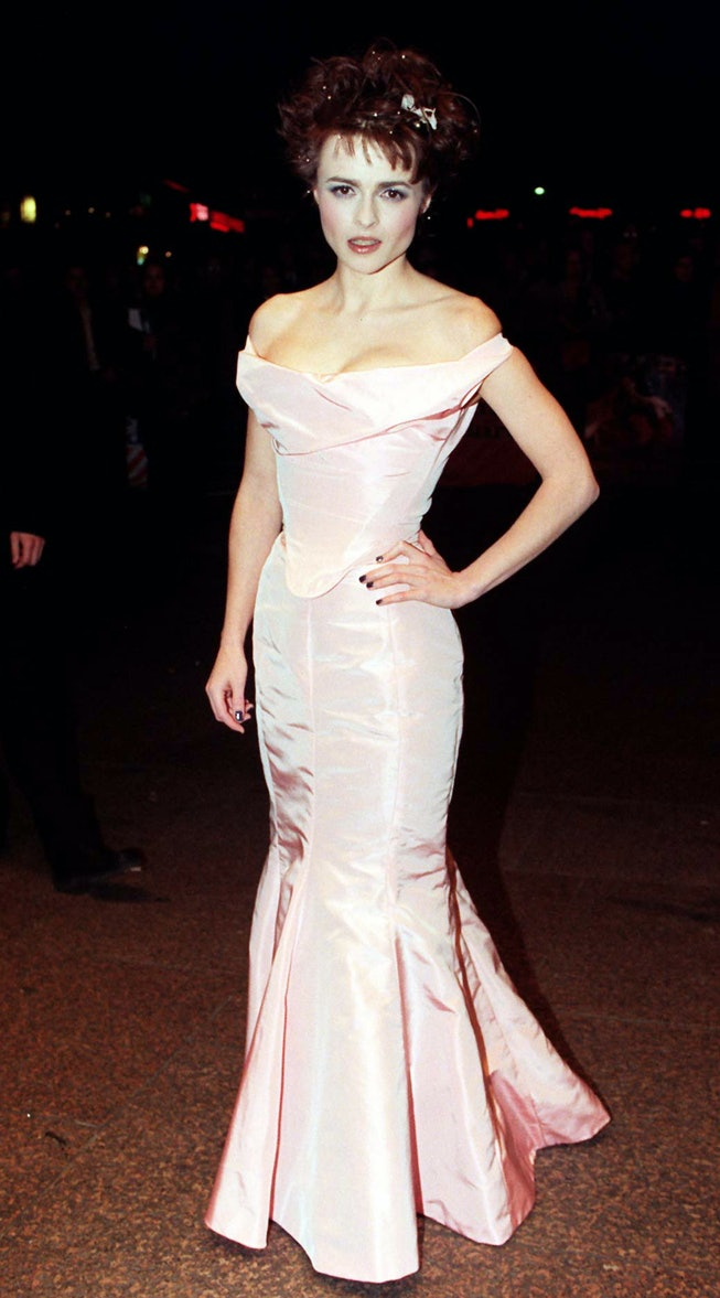 Helena Bonham Carter wearing a Vivienne Westwood gown to the 1997 premiere of The Wings Of The Dove.
