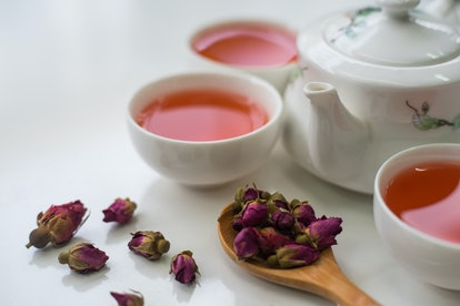 Rose tea on a wooden table