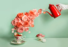 Buttler hand with glove pouring a stream of roses into tea cup on green background. Surreal conceptu...