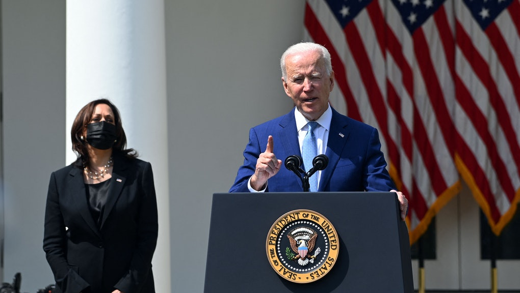 """US President Joe Biden, with Vice President Kamala Harris, speaks about gun violence prevention in the Rose Garden of the White House in Washington, DC, on April 8, 2021. - Biden on Thursday called US gun violence an """"epidemic"""" at a White House ceremony to unveil new attempts to get the problem under control. (Photo by Brendan SMIALOWSKI / AFP) (Photo by BRENDAN SMIALOWSKI/AFP via Getty Images)"""