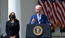 US President Joe Biden, with Vice President Kamala Harris, speaks about gun violence prevention in t...