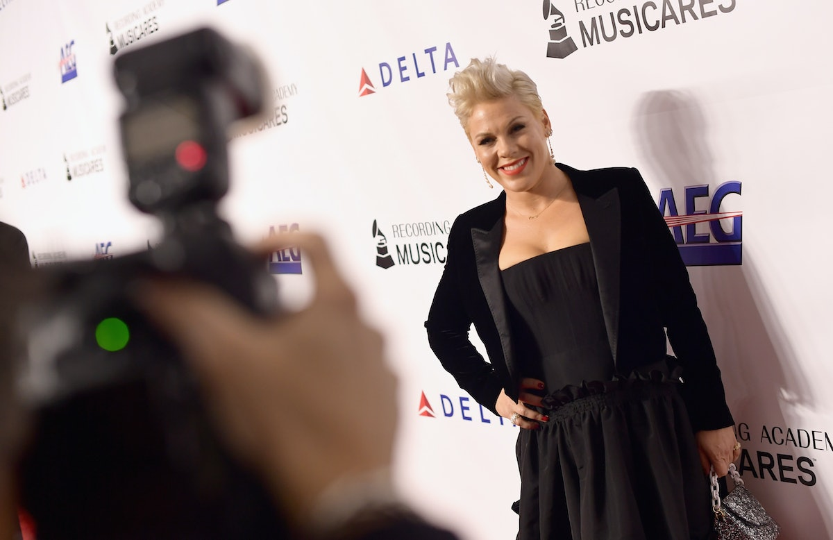 LOS ANGELES, CA - FEBRUARY 08:  P!nk attends MusiCares Person of the Year honoring Dolly Parton at Los Angeles Convention Center on February 8, 2019 in Los Angeles, California.  (Photo by Matt Winkelmeyer/Getty Images for The Recording Academy)