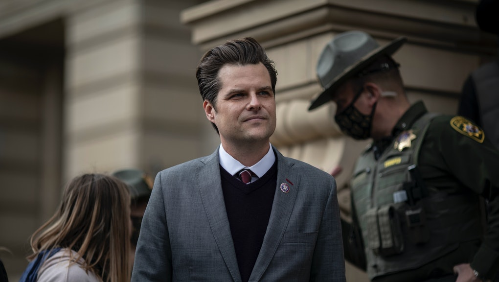 CHEYENNE, WYO, - JAN 28: U.S. Representative from Florida Matt Gaetz waits to speak to a crowd outside of the Wyoming State Capitol on Thursday, Jan. 28, 2021 in Cheyenne, Wyoming. Gaetz spoke against Liz Cheney, urging state republicans to oust her after voting to impeach Donald Trump. (Chet Strange for The Washington Post via Getty Images)