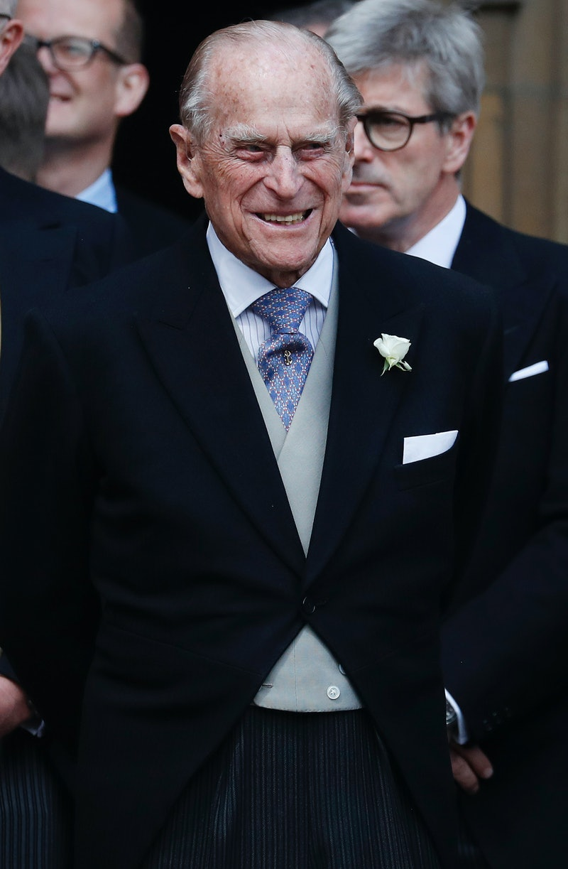Britain's Prince Philip, Duke of Edinburgh leaves St George's Chapel in Windsor Castle, Windsor, wes...