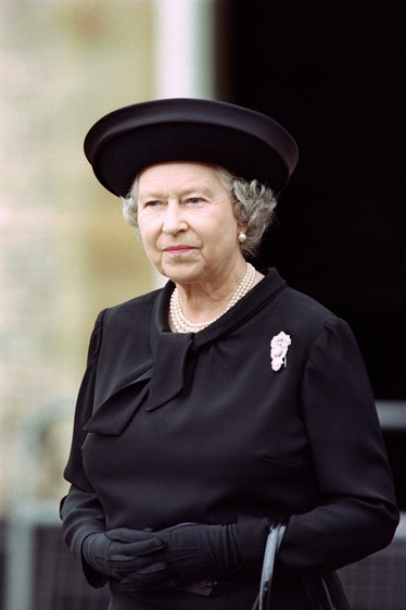 Britain's Queen Elizabeth II meets wellwishers on the eve of Diana, Princess of Wales's funeral at S...