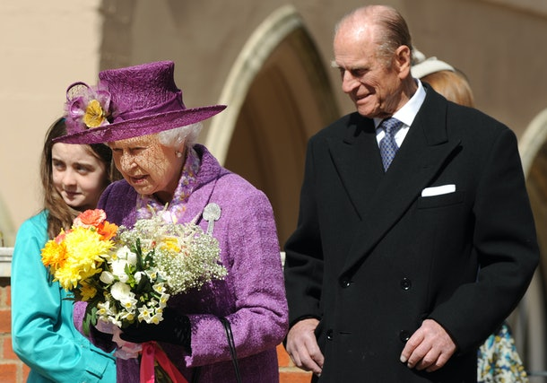 Britain's Queen Elizabeth II (R) and Prince Philip, the Duke of Edinburgh (L) leave after attending an Easter Sunday church service in Windsor on April 4, 2019.  AFP PHOTO / BEN STANSALL / WPA POOL (Photo by Ben STANSALL / POOL / AFP) (Photo by BEN STANSALL/POOL/AFP via Getty Images)