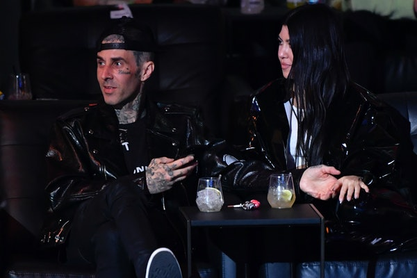 LAS VEGAS, NEVADA - MARCH 27: Travis Barker and Kourtney Kardashian are seen in attendance during the UFC 260 event at UFC APEX on March 27, 2021 in Las Vegas, Nevada. (Photo by Jeff Bottari/Zuffa LLC)
