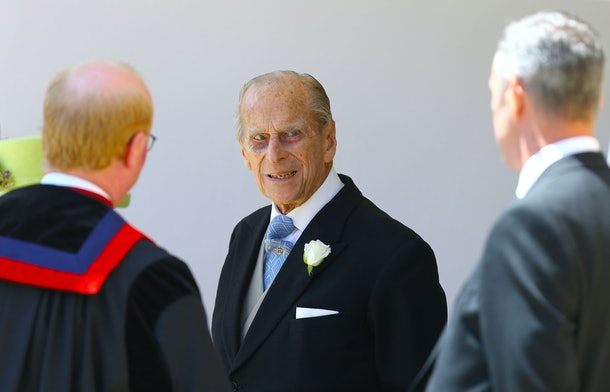 WINDSOR, ENGLAND - MAY 19:  Prince Philip, Duke of Ediburgh leaves St George's Chapel after the wedding of Prince Harry, Duke of Sussex and The Duchess of Sussex at St Georges Chapel on May 19, 2018 in Windsor, England.  (Photo by Gareth Fuller - WPA/Getty Images)
