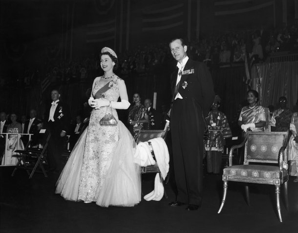 Queen Elizabeth and Prince Philip at the Commonwealth Ball at the 77th Regiment Armoury, New York, 23rd October 1957. The ball was held in their honour at the end of their visit to the United States (Photo by Keystone/Hulton Archive/Getty Images)