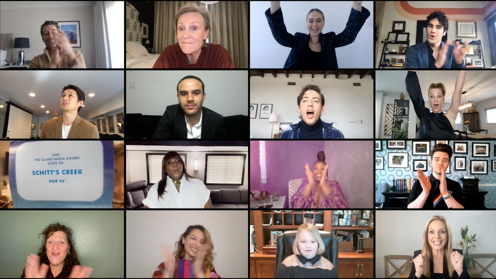 """UNSPECIFIED - APRIL 08: In this screengrab released on April 8, (Clockwise from top left) Matthew Morrison, Jane Lynch, Becca Tobin, Darrin Criss, Heather Morris, Chris Colfer, Jessalyn Gilsig Lauren Potter, Vanessa Lengies, Dot-Marie Jones, Harry Shum Jr., Jacob Artist, Kevin McHale, Amber Riley, and Alex Newell from """"Glee"""" present the Best Comedy Series award to """"Schitt's Creek"""" during The 32nd Annual GLAAD Media Awards broadcast on April 08, 2021. (Photo by The 32nd Annual GLAAD Media Awards/Getty Images for GLAAD)"""