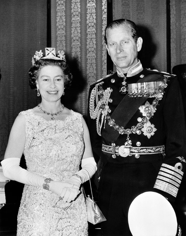Official photo taken on November 3, 1972 shows Britain's Queen Elizabeth II, wearing the George IV State Diadem, diamond tiara on British and Commonwealth stamps, and Prince Philip, Duke of Edinburgh, on the occasion of their 25th wedding anniversary.   AFP PHOTO (Photo by STRINGER / CENTRAL PRESS / AFP) (Photo by STRINGER/CENTRAL PRESS/AFP via Getty Images)