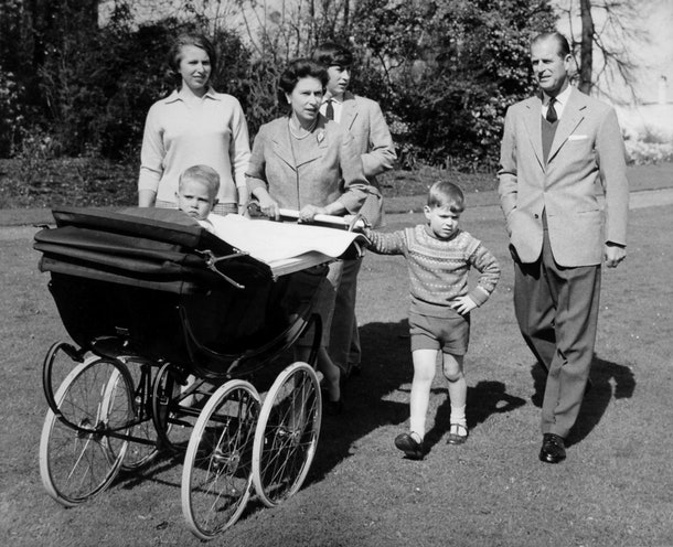*Scanned low-res from print, high-res available on request* Baby Prince Edward with his parents, Queen Elizabeth II, and the Duke of Edinburgh, and siblings the Prince of Wales, Princess Anne and Prince Andrew.   (Photo by PA Images via Getty Images)