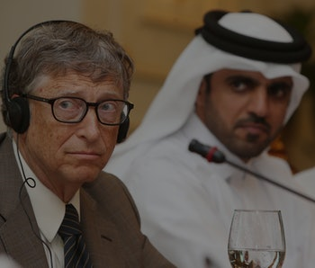 Bill Gates (L), Microsoft founder and co-chairman of the Bill and Melinda Gates Foundation (R) and Khalifa bin Jassim al-Kuwari, the Director General of the Qatar Development Fund, give a press conference after a signing ceremony on April 13, 2016 in Doha. Microsoft mastermind Bill Gates is to receive $50 million from the Qatar Development Fund for his foundation. The money will go towards a $2.5-billion fund developed jointly by the Islamic Development Bank and the Bill & Melinda Gates Foundation. / AFP / KARIM JAAFAR        (Photo credit should read KARIM JAAFAR/AFP via Getty Images)