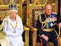 LONDON, ENGLAND - JUNE 04:  Queen Elizabeth II sits with Prince Philip, Duke of Edinburgh as she del...