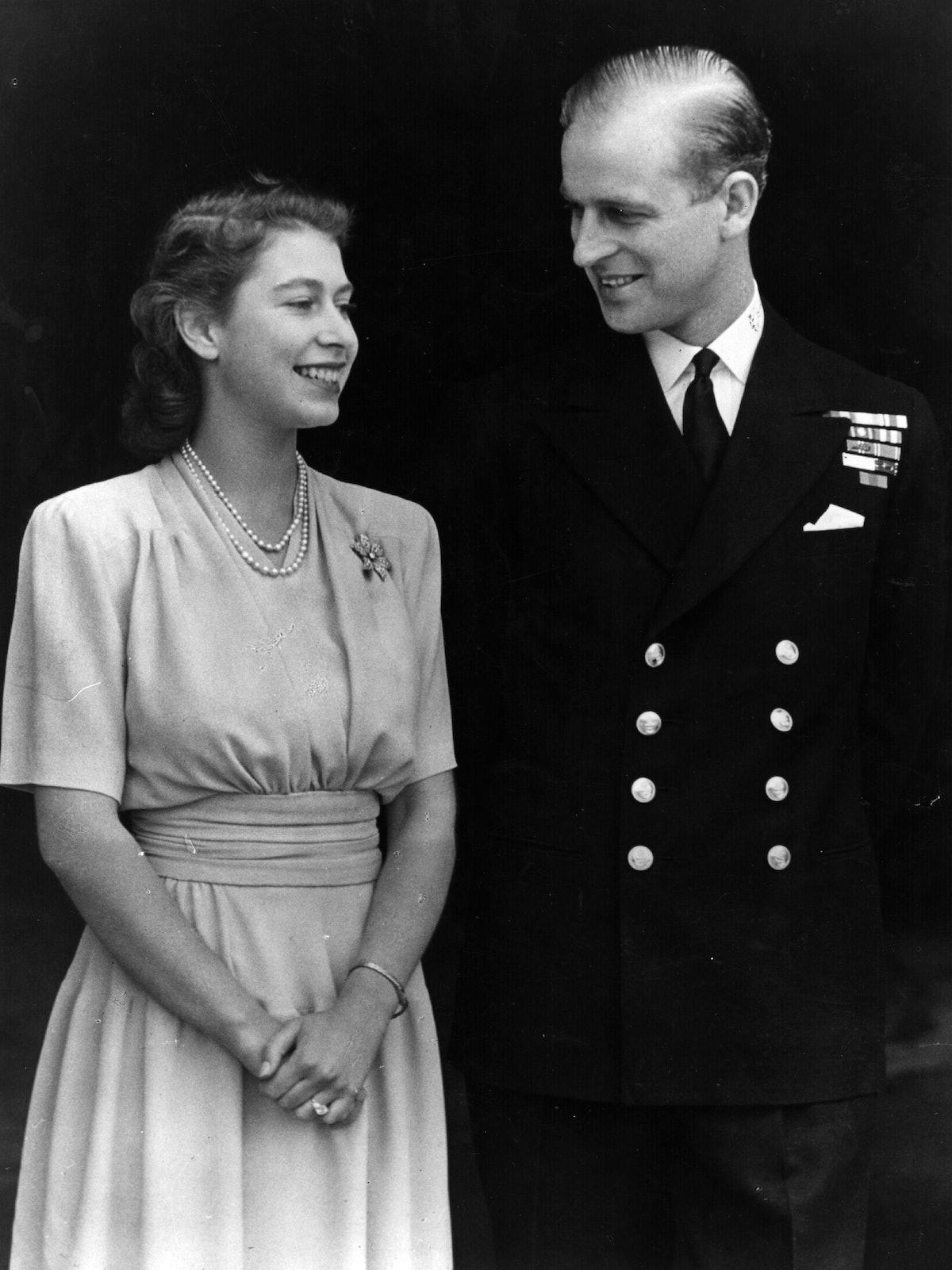 1947:  H R H Princess Elizabeth and Philip Mountbatten, Duke of Edinburgh, on the occasion of their ...