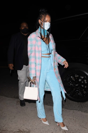 Rihanna arrives at Giorgio Baldi on March 19, 2021 in Los Angeles, California. (Photo by iamKevinWon...
