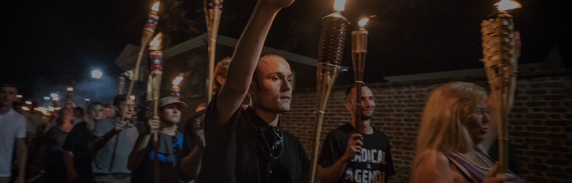 CHARLOTTESVILLE,VA-AUG11:Chanting White lives matter! You will not replace us! and Jews will not replace us! several hundred white nationalists and white supremacists carrying torches marched in a parade through the University of Virginia campus last night. Beginning a little after 9:30 p.m., the march lasted 15 to 20 minutes before ending in skirmishing when the marchers were met by a small group of counterprotesters at the base of a statue of Thomas Jefferson, the universitys founder. (Photo by Evelyn Hockstein/For The Washington Post via Getty Images)