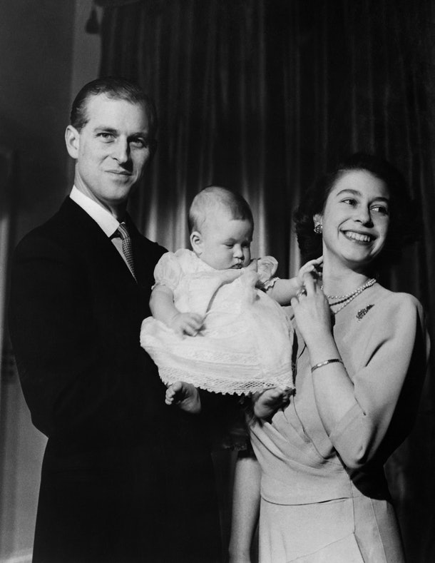 Undated picture showing the future Queen Elizabeth II of England and Prince Philip of Edinburgh posing with their son Prince Charles. (Photo by - / INTERCONTINENTALE / AFP) (Photo by -/INTERCONTINENTALE/AFP via Getty Images)