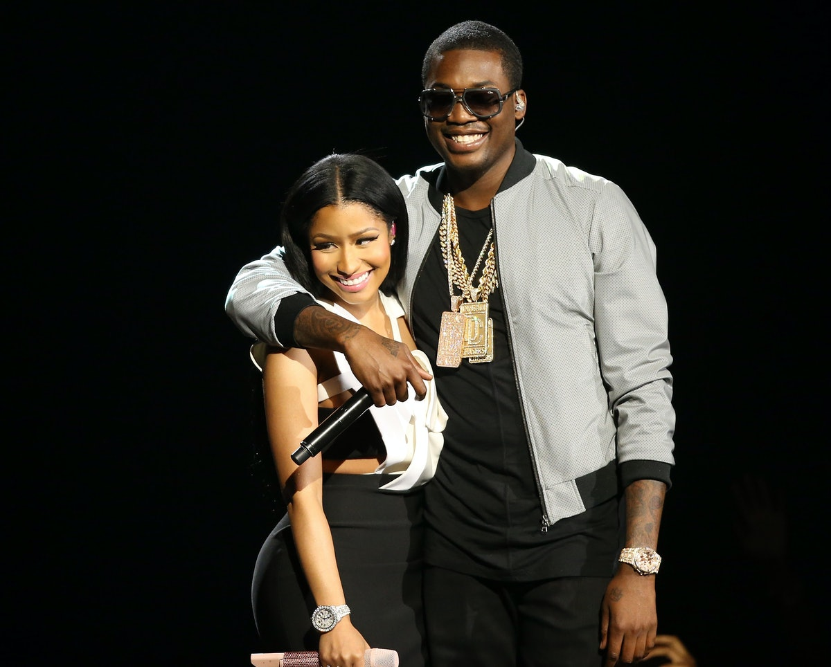 LOS ANGELES, CA - JUNE 28:  Nicki Minaj (L) and Meek Mill perform onstage during the 2015 BET Awards held at Microsoft Theater on June 28, 2015 in Los Angeles, California.  (Photo by Michael Tran/FilmMagic)