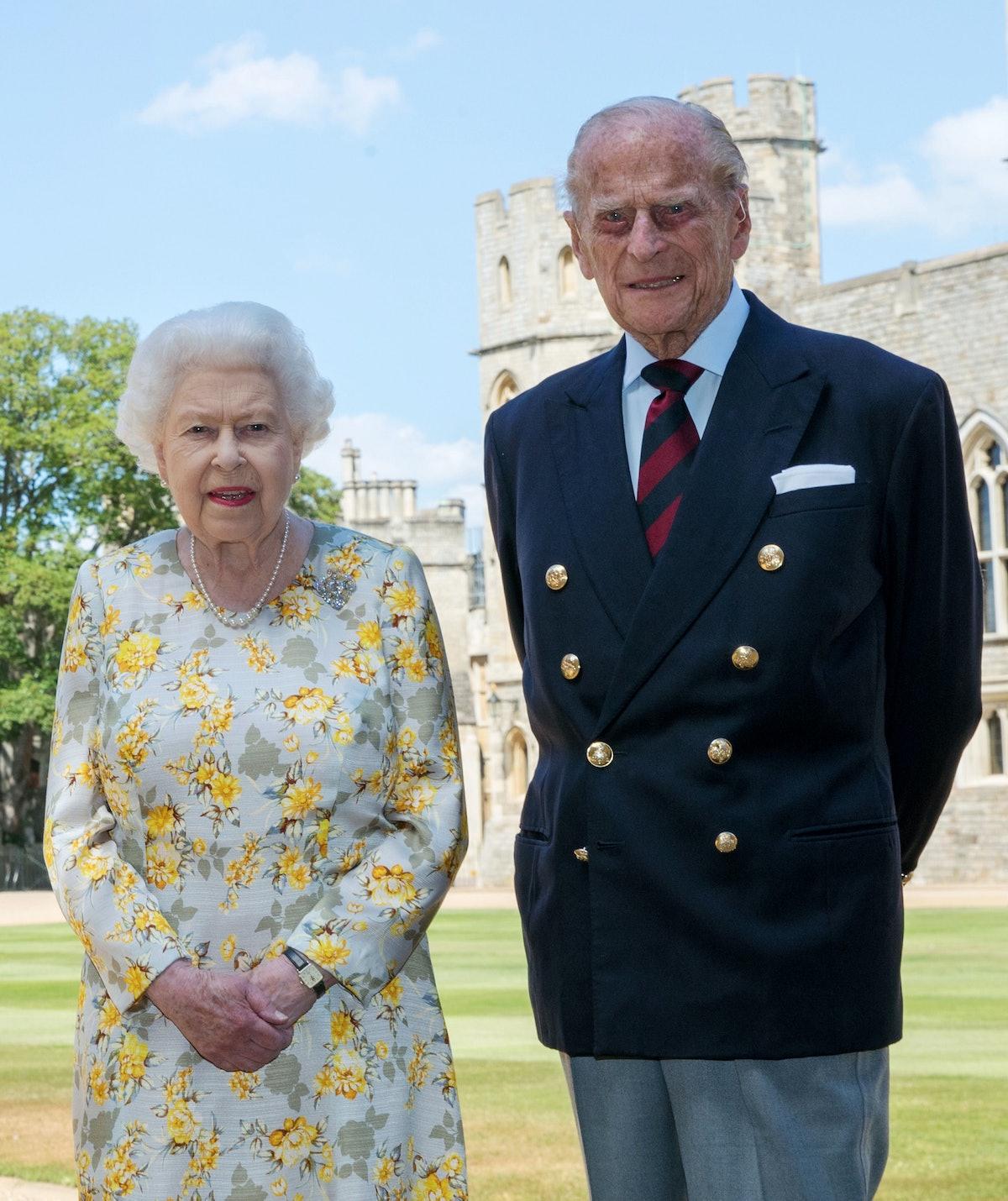Queen Elizabeth II and the Duke of Edinburgh pictured 1/6/2020 in the quadrangle of Windsor Castle a...