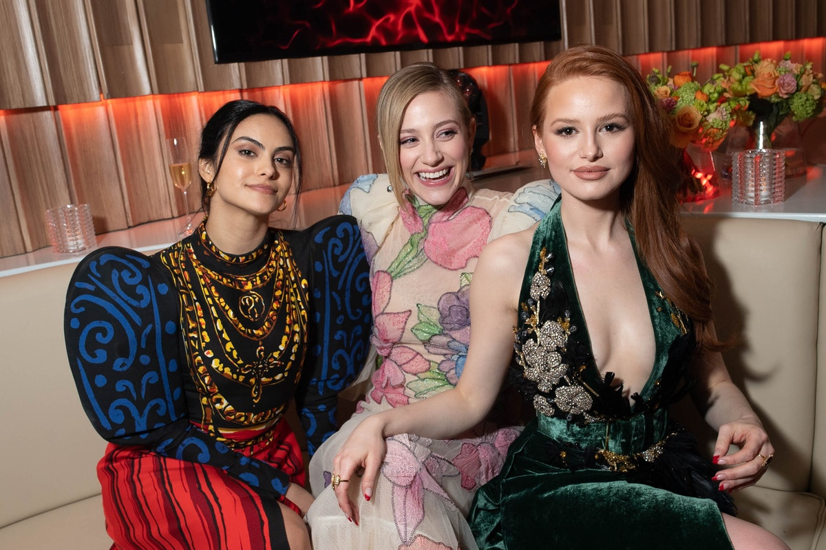 BEVERLY HILLS, CALIFORNIA - FEBRUARY 09: (L-R) Camila Mendes, Lili Reinhart, and Madelaine Petsch at...