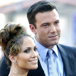 """Jennifer Lopez & Ben Affleck during """"Gigli"""" California Premiere at Mann National in Westwood, California, United States. (Photo by Chris Weeks/FilmMagic)"""