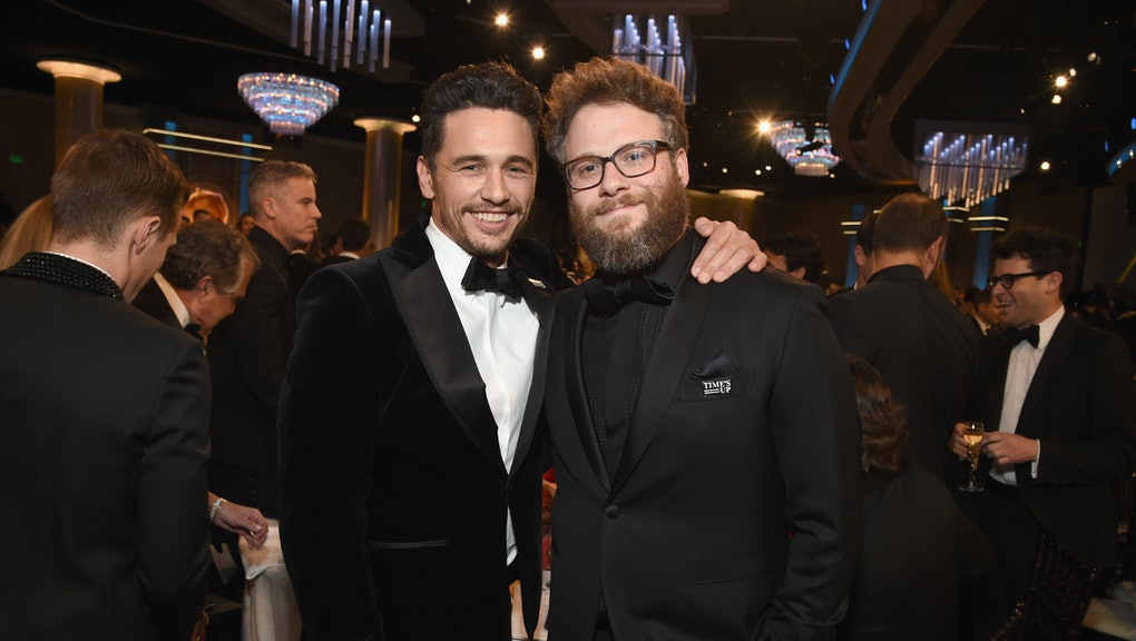 BEVERLY HILLS, CA - JANUARY 07:  Actors/filmmakers James Franco (L) and Seth Rogen celebrate The 75th Annual Golden Globe Awards with Moet & Chandon at The Beverly Hilton Hotel on January 7, 2018 in Beverly Hills, California.  (Photo by Michael Kovac/Getty Images for Moet & Chandon)