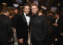 BEVERLY HILLS, CA - JANUARY 07:  Actors/filmmakers James Franco (L) and Seth Rogen celebrate The 75t...