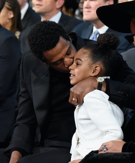 NEW YORK, NY - JANUARY 28: Recording artist Jay Z and daughter Blue Ivy Carter attend the 60th Annua...