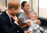 Prince Harry, Duke of Sussex, Meghan, Duchess of Sussex and their baby son Archie Mountbatten-Windsor meet Archbishop Desmond Tutu and his daughter Thandeka Tutu-Gxashe at the Desmond & Leah Tutu Legacy Foundation during their royal tour of South Africa on September 25, 2019 in Cape Town, South Africa. (Photo by Pool/Samir Hussein/WireImage)