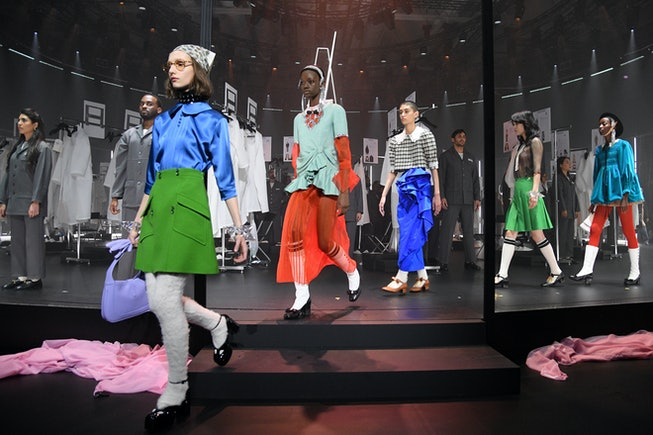 MILAN, ITALY - FEBRUARY 19: Models walk the runway at the Gucci Fall/Winter 2020/21 fashion show during Milan Fashion Week on February 19, 2020 in Milan, Italy. (Photo by Daniele Venturelli/Getty Images for Gucci)