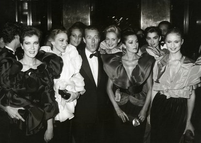 Halston and Halstonettes during Diana Vreeland's Costume Exhibition - December 8, 1980 at Metropolitan Museum of Art in New York City, New York, United States. (Photo by Ron Galella/Ron Galella Collection via Getty Images)