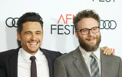 """HOLLYWOOD, CA - NOVEMBER 12:  James Franco (L) and Seth Rogen arrive to the AFI FEST 2017 presented by Audi - screening of """"The Disaster Artist"""" held at TCL Chinese Theatre on November 12, 2017 in Hollywood, California.  (Photo by Michael Tran/FilmMagic)"""