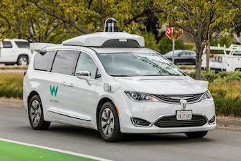 Mountain View, California, USA - November 3, 2017: .A Waymo, customized Chrysler Pacifica Hybrid, us...