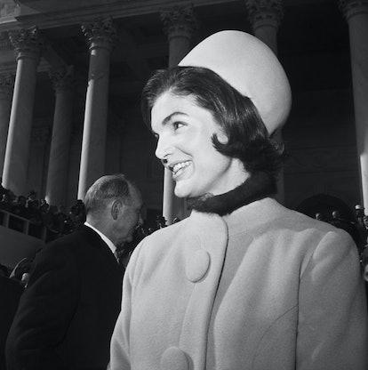 (Original Caption) 1/20/61: Closeup of Jacqueline Kennedy.