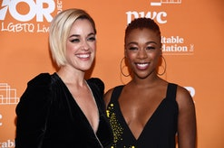 BEVERLY HILLS, CALIFORNIA - NOVEMBER 17: Samira Wiley (R) and Lauren Morelli arrive at the 2019 TrevorLive Los Angeles Gala at The Beverly Hilton Hotel on November 17, 2019 in Beverly Hills, California. (Photo by Amanda Edwards/WireImage)