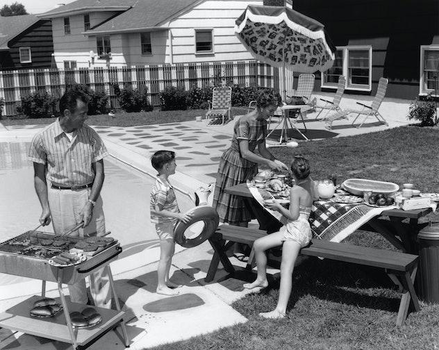 1960s backyard picnic.