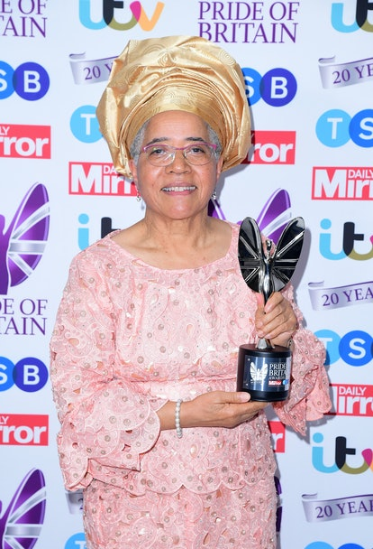 Dame Elizabeth Anionwu with the Lifetime Achievement Award, presented by Janet Jackson, in the press room during the Pride of Britain Awards held at the The Grosvenor House Hotel, London. (Photo by Ian West/PA Images via Getty Images)