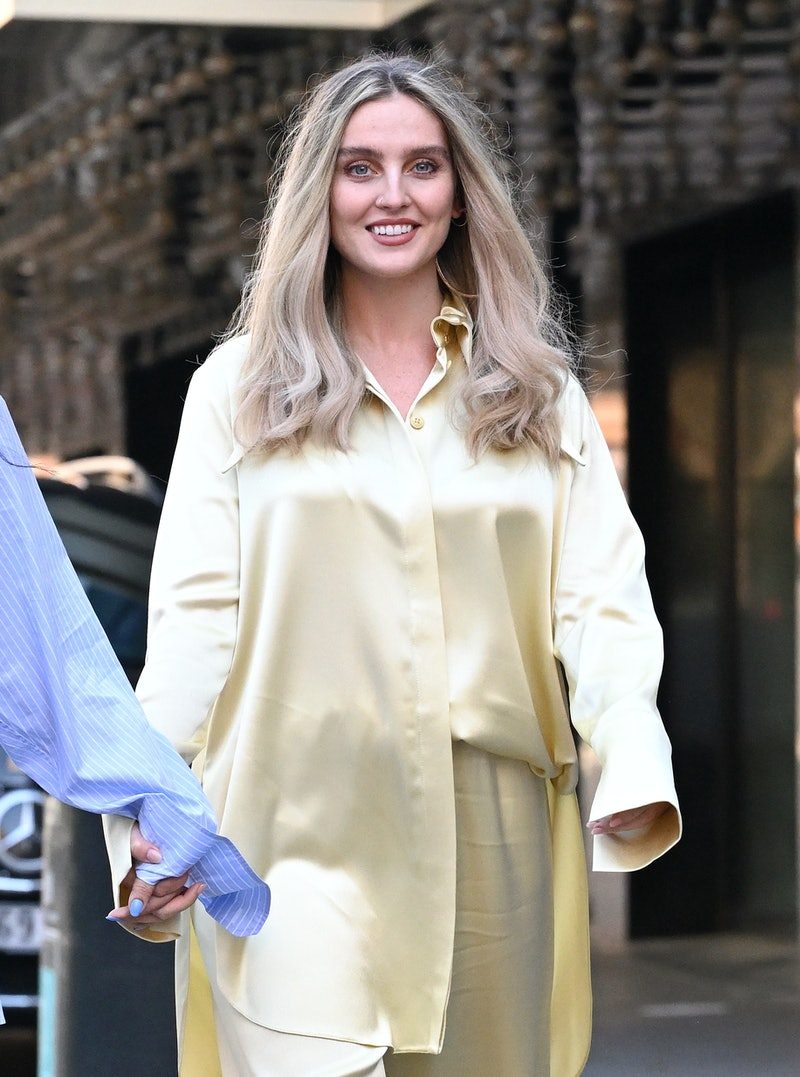 LONDON, ENGLAND - APRIL 30: Perrie Edwards of Little Mix arrives at Global radio studios on April 30, 2021 in London, England. (Photo by Karwai Tang/WireImage)