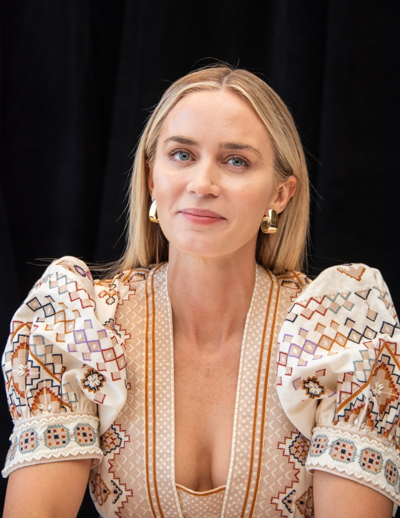 """NEW YORK, NEW YORK - MARCH 08: Emily Blunt at the """"A Quiet Place Part II"""" Press Conference at the Mandarin Oriental Hotel on March 08, 2020 in New York City. (Photo by Vera Anderson/WireImage)"""