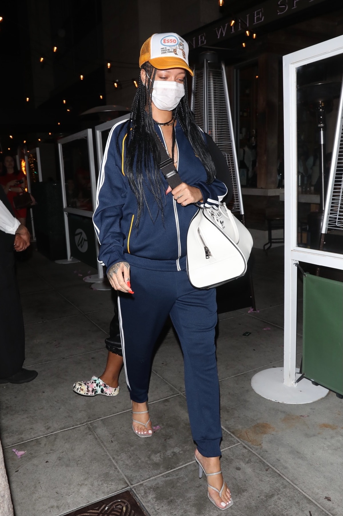 LOS ANGELES CA - APRIL 12:  Rihanna is seen at Wallys on April 12, 2021 in Los Angeles, California. ...