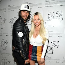 LOS ANGELES, CALIFORNIA - JANUARY 23: (L-R) Justin Brescia and Lindsey Pelas attend Spotify Cosmic Playlist Launch Event at Gold Diggers on January 23, 2019 in Los Angeles, California. (Photo by Frazer Harrison/Getty Images for Spotify)