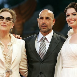 """Stanley Tucci, Meryl Streepand Anne Hathaway arrive for the screening of """"The Devil Wears Prada"""" at the Lido of Venice in 2006."""