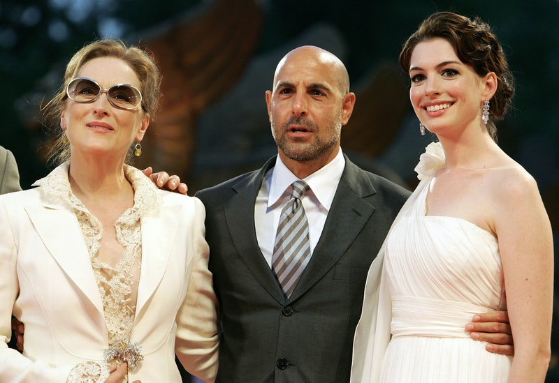 """Stanley Tucci, Meryl Streepand Anne Hathaway arrive for the screening of """"The Devil Wears Prada"""" at ..."""