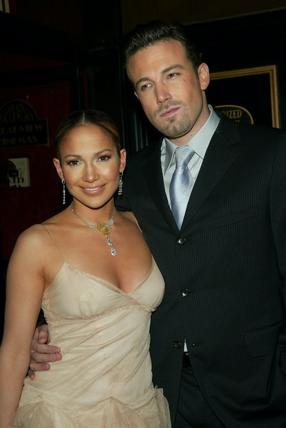 """Jennifer Lopez and Ben Affleck arriving at the """"Maid In Manhattan"""" world premiere at The Ziegfeld Theatre, New York City. December 8, 2002. Photo by Evan Agostini/Getty Images."""