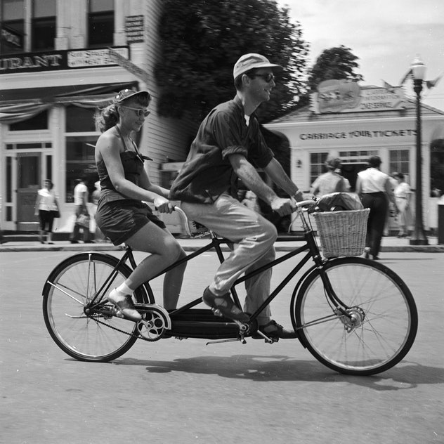 A tandem bicycle in 1955 is perfect.