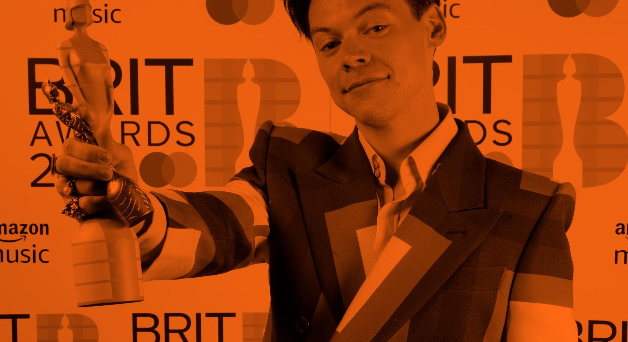 LONDON, ENGLAND - MAY 11: Harry Styles wins the Mastercard British Single award for Watermelon Sugar...