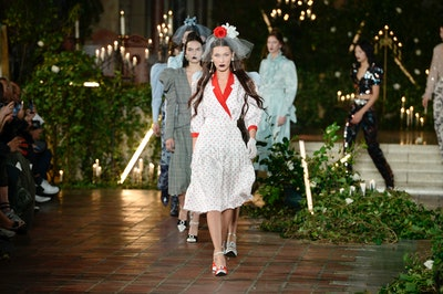 NEW YORK, NEW YORK - FEBRUARY 11: Bella Hadid walks the runway for Rodarte during New York Fashion Week: The Shows at St. Bart's Church on February 11, 2020 in New York City. (Photo by Fernanda Calfat/Getty Images for NYFW: The Shows)